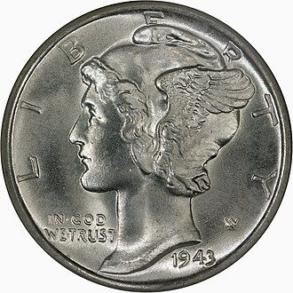Liberty (goddess) -  A young Liberty, with winged cap, on the Obverse of the Mercury Dime - designed by Adolph Weinman and issued in the US between 1916-1945.