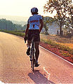 1989 Race Across America competitor empties his bladder while staying on the bike.jpg