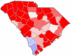 Red counties were won by Campbell and blue counties were won by Mitchell