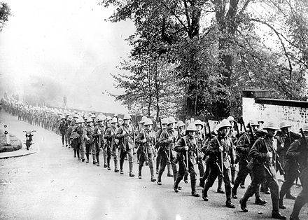 1st Battalion, Durham Light Infantry leaves Farnborough in October 1937 on the first stage of their journey to Shanghai 1DLI 1937.jpg