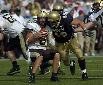 Jay Cutler (American football) - Cutler being sacked by Navy linebacker Jeremy Chase