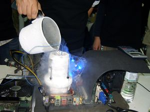 Overclocking - Liquid nitrogen may be used for cooling an overclocked system, when an extreme measure of cooling is needed.