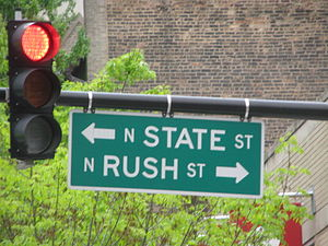 English: Rush Street State Street sign