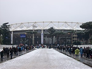 2012-02-11 Rome Olympic Stadium under the snow ITA - ENG rugby.jpg