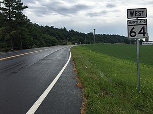 Maryland Route 64 - View west from the east end of MD 64