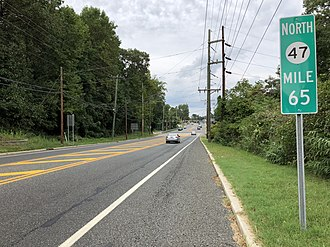 Pitman, New Jersey - Route 47 northbound on the east edge of Pitman