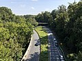2019-09-11 15 15 36 View southeast along the Cabin John Parkway (Interstate 495X) from the overpass for MacArthur Boulevard on the edge of Cabin John and Bethesda in Montgomery County, Maryland.jpg
