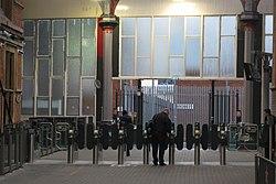 2019 at Bristol Temple Meads - ticket gate (Bonaparte's).JPG