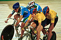 231000 - Cycling track Kerry Modra Kieran Modra action 3 - 3b - 2000 Sydney race photo.jpg