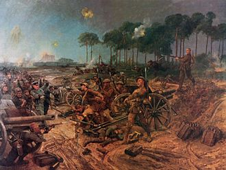 Manchester Regiment - C Company, 2nd Manchesters taking the battery at Francilly Selency. Painting by Richard Caton Woodville (1856–1927)