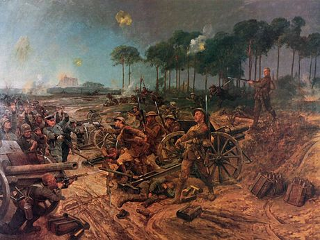 C Company, 2nd Manchesters taking the battery at Francilly Selency. Painting by Richard Caton Woodville (1856-1927) 2nd Manchesters capturing a German battery at Francilly Selency, Apriil 1917.jpg
