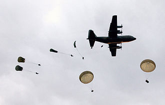 3rd Battalion, Royal Australian Regiment - Soldiers from 3 RAR conducting a parachute jump from a C-130 Hercules cargo aircraft in 2005