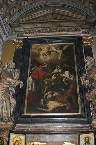 Giacinto Brandi - Giacinto Brandi, Charles Borromeo brings the Holy Communion to the victims of the Plague, left-hand altar, Santa Maria della Vittoria