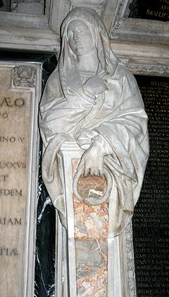 Eternity personified, holding the ourobouros. Caryatid in the apse of Milan Cathedral (1611)