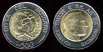 Vatican lira - Image: 500lirevaticano