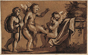 Chiaroscuro woodcut depicting Playing cupids. ...
