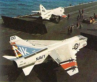 VFA-97 - Image: A 7Es on USS Coral Sea Op Eagle Claw April 1980