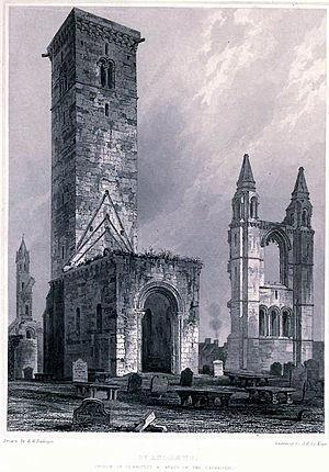 St Regulus Hall - An illustration of St Rule (St Regulus) Tower