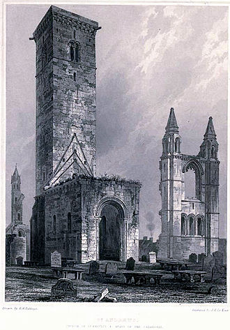 St Regulus Hall - An illustration of St Rule (St Regulus) Tower