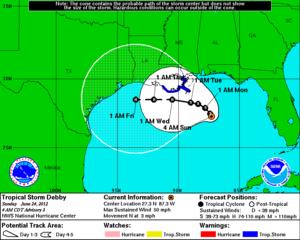 Tropical Storm Debby (2012) - A forecast track prediction for Tropical Storm Debby on June 24, showing a path toward Texas