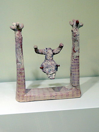 Swing (seat) - Woman sitting on a swing. Hagia Triada, Late New Palace period (1450-1300 BC), Heraklion Archaeological Museum, Crete