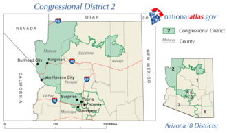 United States House of Representatives elections in Arizona, 2008 - Image: AZ districts 109 02