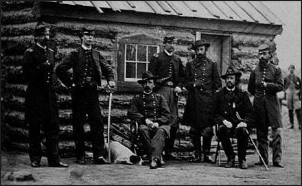 Ames (seated, center) and his staff during the American Civil War A Ames and staff UA ACW.JPG