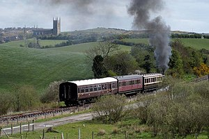 County Down - A steam train on the Downpatrick and County Down Railway travelling through the Ulster drumlin belt near Downpatrick.