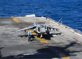 A U.S. Marine Corps AV-8B Harrier aircraft assigned to Marine Medium Tiltrotor Squadron (VMM) 266, 26th Marine Expeditionary Unit (MEU) prepares to take off from the flight deck of the amphibious assault ship 131101-M-SO289-008.jpg