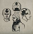 A male figure and three phrenological heads. Wood engraving. Wellcome V0009485.jpg