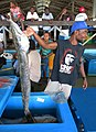 A man sells a huge fish (Barracuda?) at the Honiara Central Market. (10662331546).jpg
