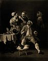 A man with his gouty leg on a stool, a maid accidently pours Wellcome V0017046.jpg