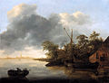 A river Landscape with Sailboats moored by a Bank by Adriaen van der Kabel.jpg