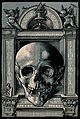 A skull with an ornamental frame. Collotype after Hans Wecht Wellcome V0042071.jpg