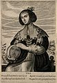A woman with a globe containing a face; representing the fac Wellcome V0007659ER.jpg