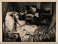 A young man weeps in grief by the death bed of a young woman Wellcome V0015175.jpg