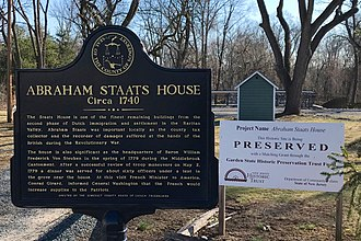 Staats House (South Bound Brook, New Jersey) - Image: Abraham Staats House, NJ information sign