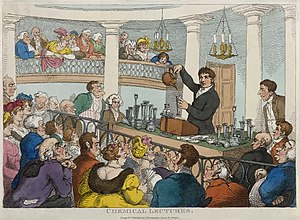 Surrey Institution - Satirical print by Thomas Rowlandson, Friedrich Christian Accum lectures at the Surrey Institution, about 1810.