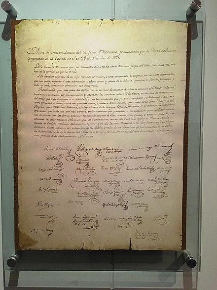 Mexico's declaration of Independence as an Empire drafted on September 28 1821 Acta de Independencia 3024x4032.jpg