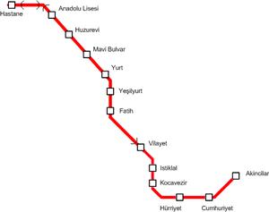 Adana Metro - System map of Adana Metro.