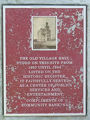 Addison Village Hall - Plaque in the Addison Old Village Hall Memorial Park