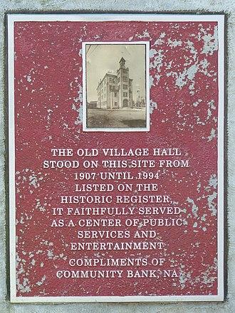 Addison Village Hall - Plaque in the Addison Old Village Hall Memorial Park