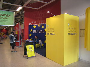 Early voting - Early polling station in a supermarket in Malmö during the European Parliament election 2009.