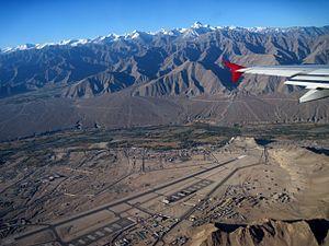 Kushok Bakula Rimpochee Airport - Image: Aerial View of Leh Kushok Bakula Rinpoche Airport (IXL) Ladakh Jammu & Kashmir India