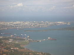 Aerial view of Mombasa from Port Reitz over Kilindini Harbour