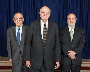 Paul Volcker - Volcker in 2014 with Alan Greenspan and Ben Bernanke