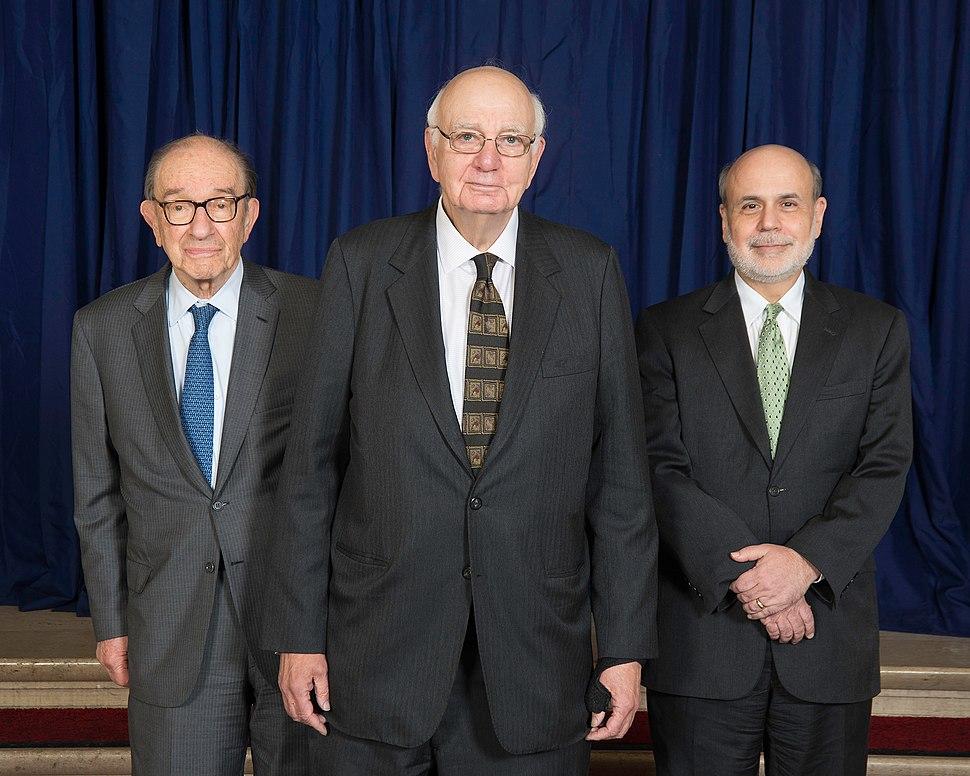 Alan Greenspan, Paul Volcker and Ben Bernanke - 2014 (13896577879)