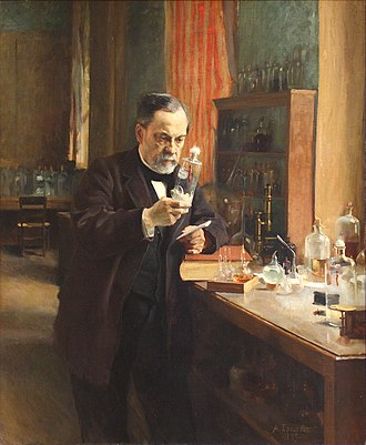 Bacteriology - Louis Pasteur in his laboratory, painting by A. Edelfeldt in 1885