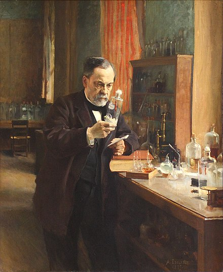 Louis Pasteur in his laboratory, painting by A. Edelfeldt in 1885