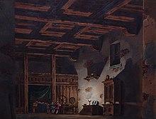 Set design by Alessandro Sanquirico for La gioventù di Giulio Cesare, Milan, La Scala, 1817 (Source: Wikimedia)
